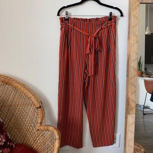 Zara Striped Tie Waist Wide Leg Pants